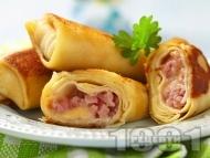 Рецепта Рула от запечени солени палачинки с шунка и кашкавал на фурна